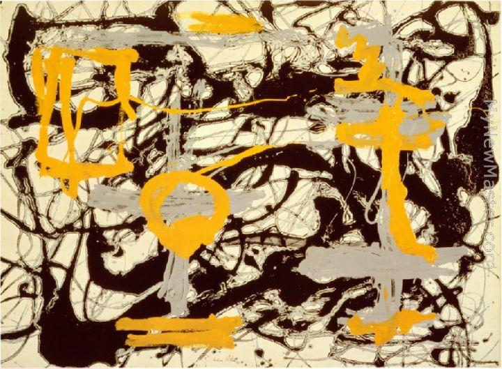 Jackson Pollock Yellow Grey Black Painting
