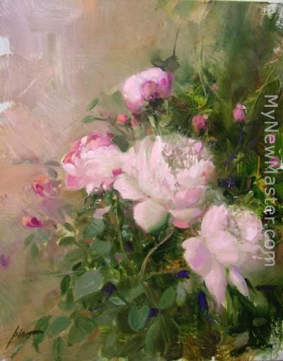 Roses In Garden: Pino ROSE GARDEN Painting