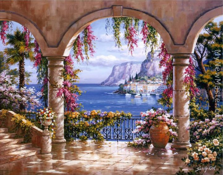 Sung Kim Floral Patio I Painting