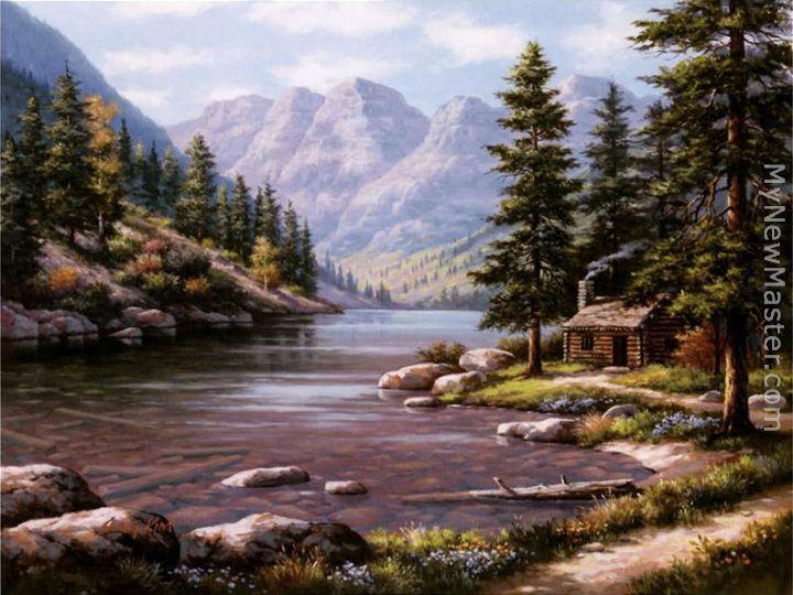 Sung Kim Log Cabin Retreat Painting