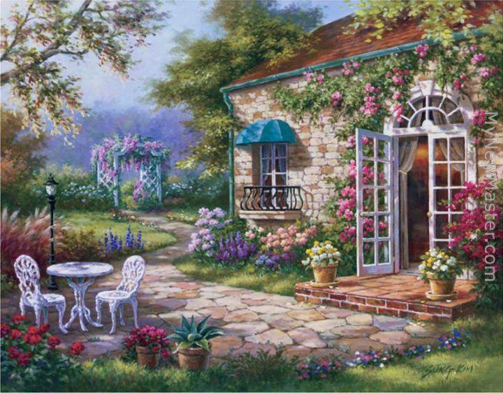 Sung Kim Spring Patio II Painting - Patio painting